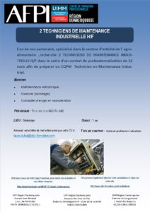 Marine Harvest Techniciens de Maintenance Industrielle