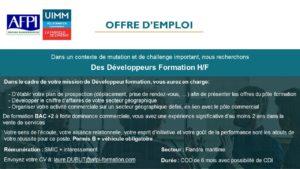 OFFRE D'EMPLOI developpeur formation